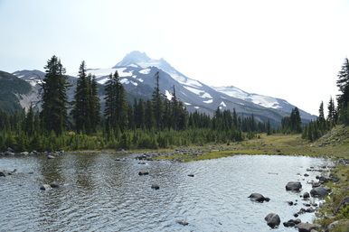 A view of Russel Lake with Mt. Jefferson in the background at Jefferson Park