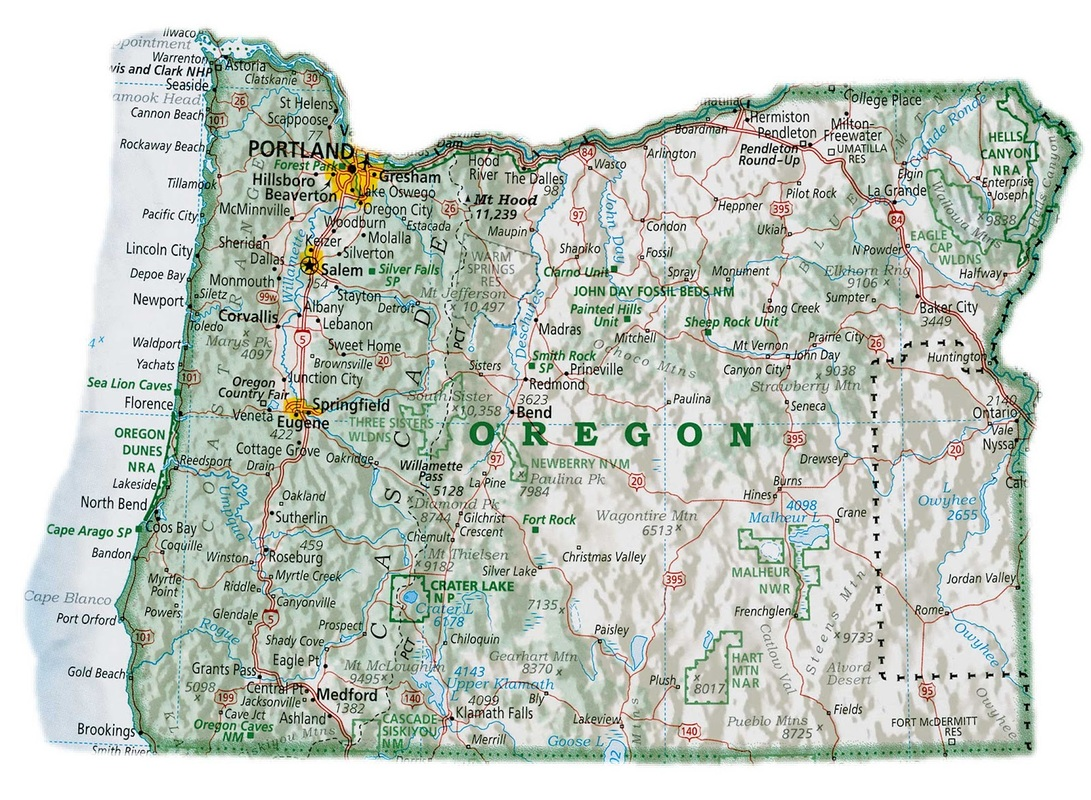 map of Oregon with Oregon cities