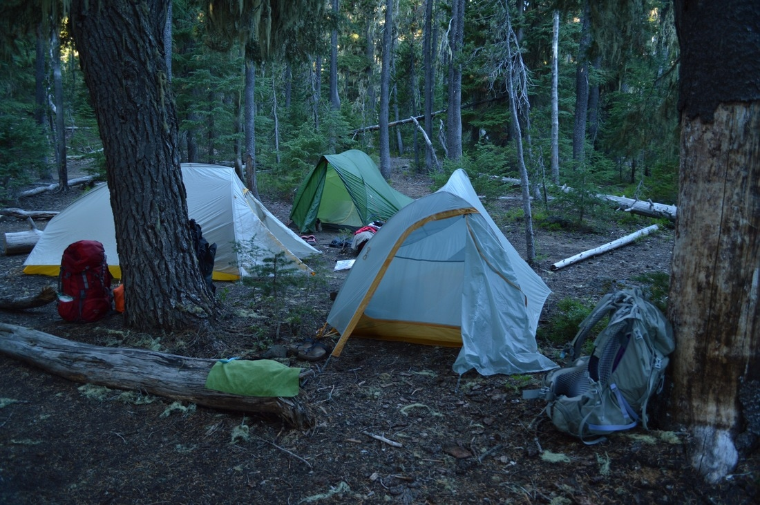 tents camping at Taylor Lake Pacific Crest Trail Oregon