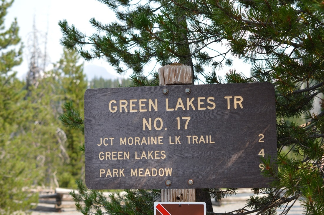 Green Lakes trail sign