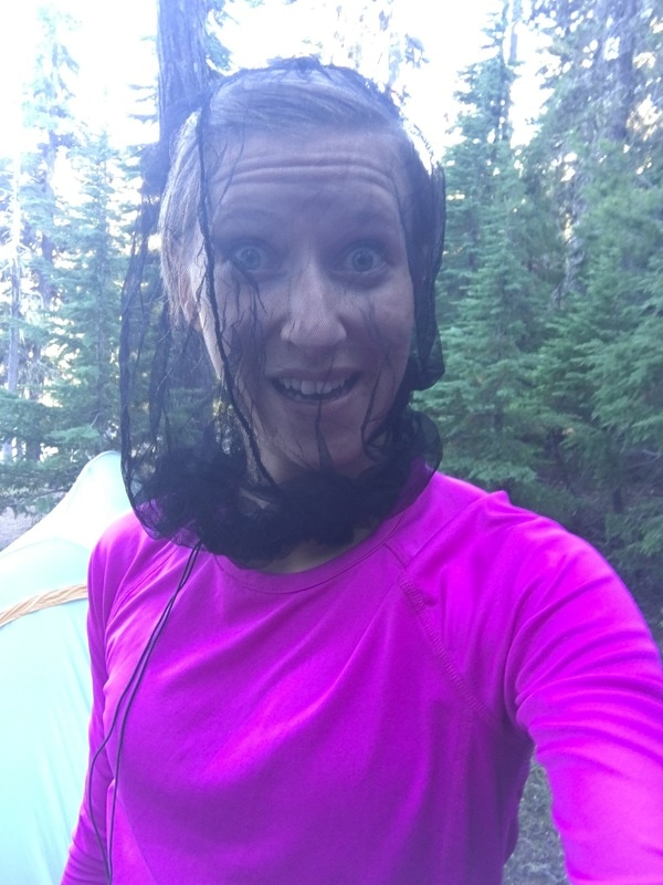 Mosquito head net at Bobby Lake Pacific Crest Trail Oregon