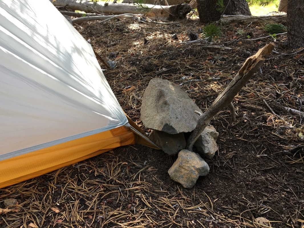 using rocks to stake my tent Pacific Crest Trail Oregon