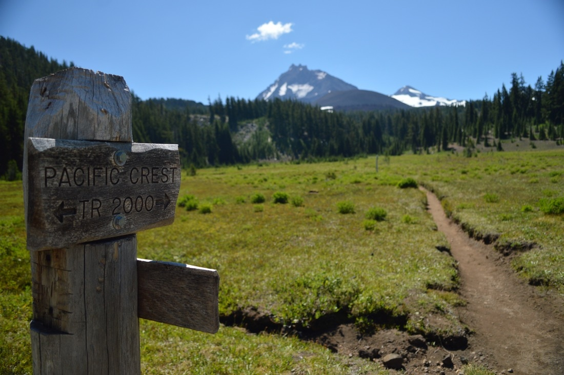 Pacific Crest Trail sign and North Sister Pacific Crest Trail Oregon