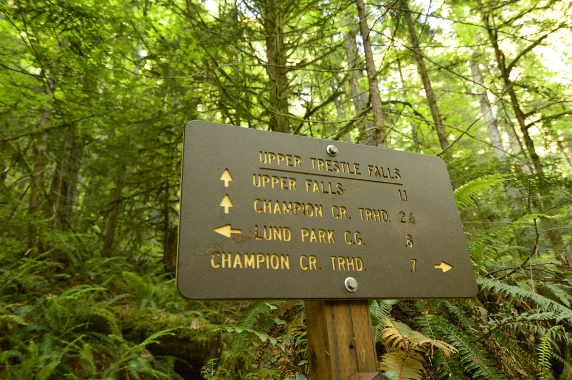 Trail sign for Upper Trestle Creek Falls, Champion Creek trailhead, Lund Park campground