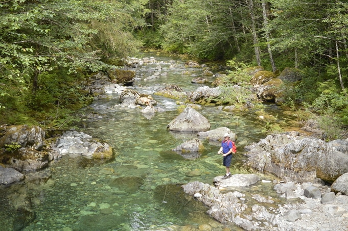 Fishing in the Little North Santiam River along the Opal Creek hiking trail