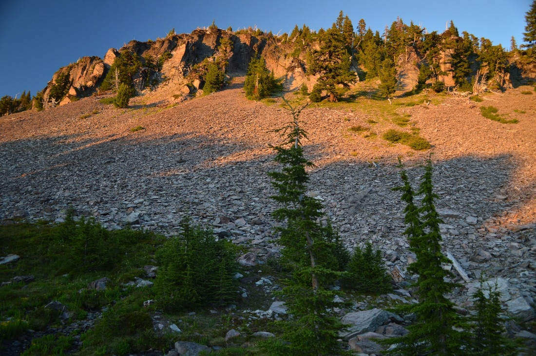 Setting sun at Sister Spring Pacific Crest Trail Oregon