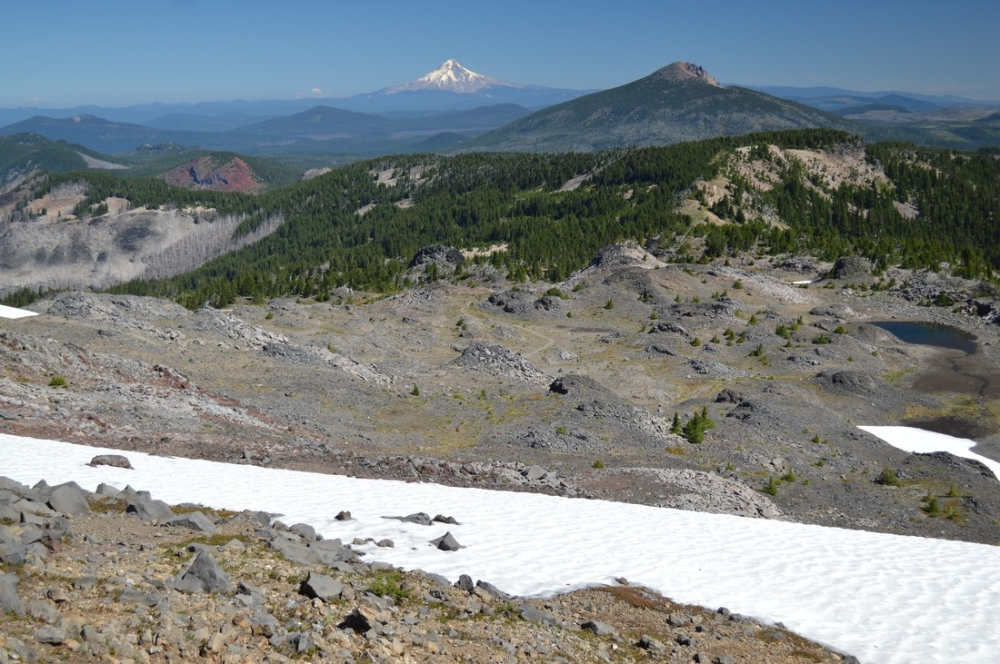 view of Olallie Butte and Mt. Hood Pacific Crest Trail Oregon