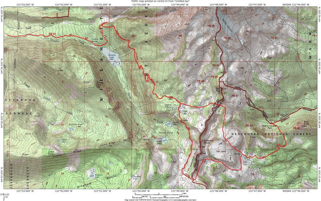 GPS map of the trip through the Jefferson wilderness