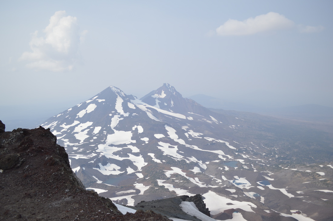 Middle and North Sister from the South Sister summit