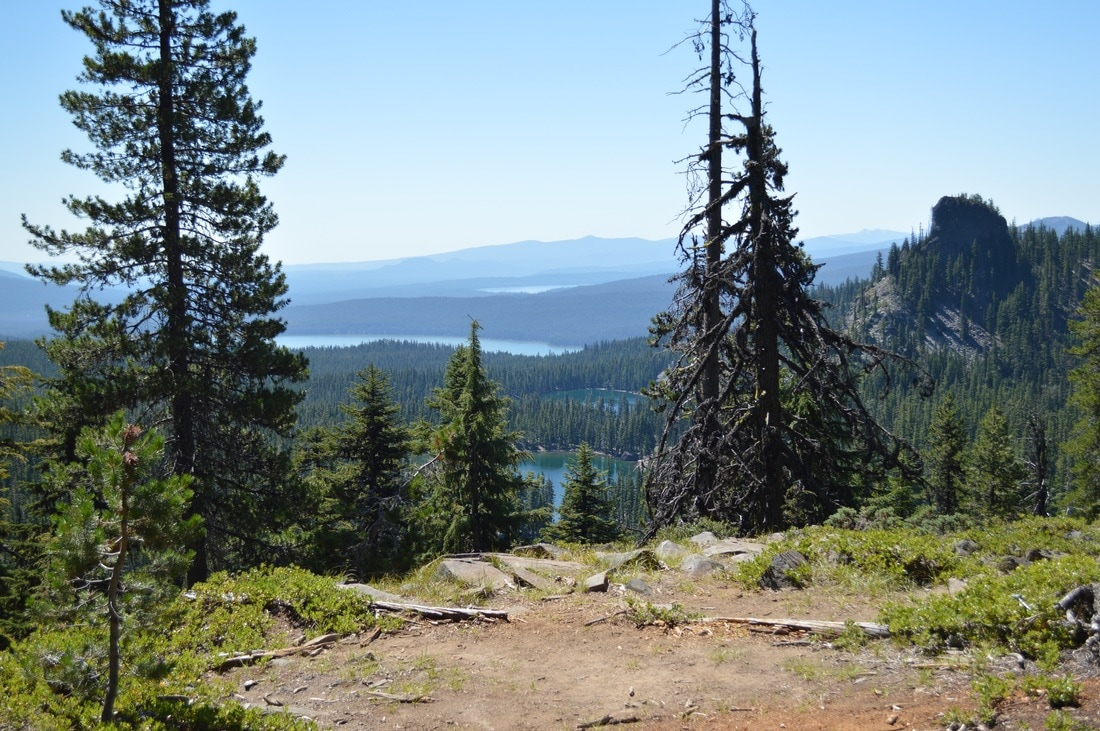 Rosary Lakes, Odell Lake and Summit Lake from the Pacific Crest Trail