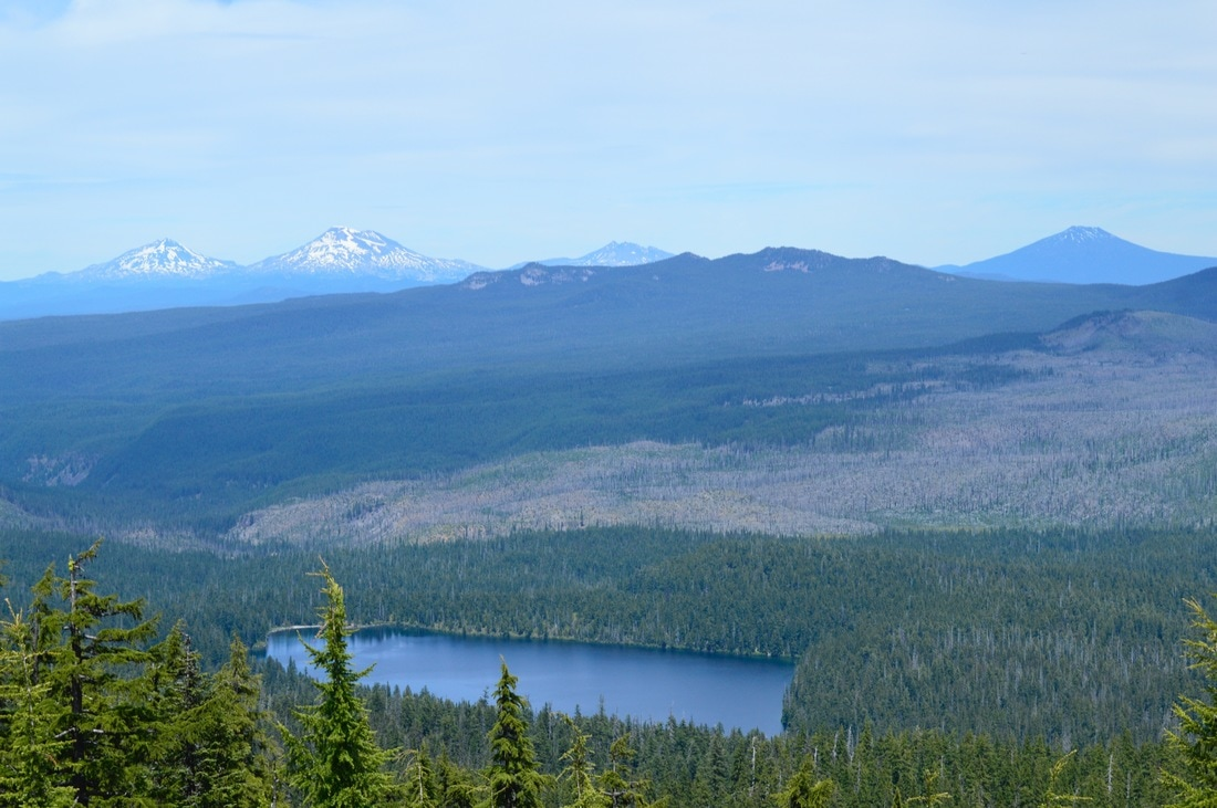 Waldo Lake and the Three Sisters from Waldo Mountain lookout