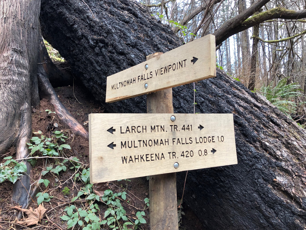 New Multnomah Wahkeena falls loop trail sign