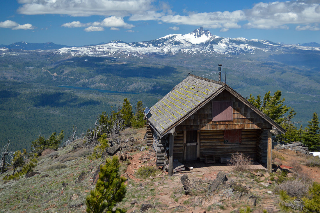 Old cabin on top of Black Butte