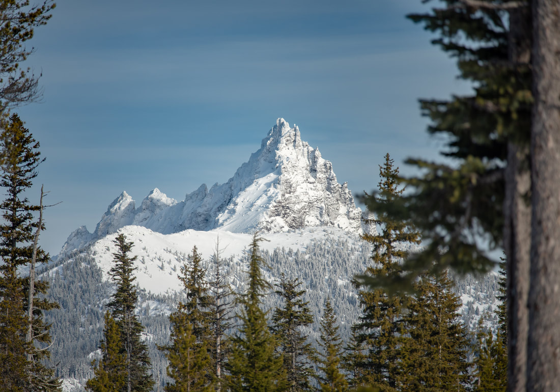 View of Three Fingered Jack from Ray Benson Sno Park